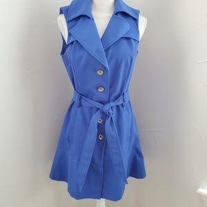 Bebe Blue Sleeveless Trench Dress M